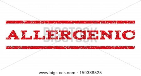 Allergenic watermark stamp. Text caption between horizontal parallel lines with grunge design style. Rubber seal red stamp with scratched texture. Vector ink imprint on a white background.