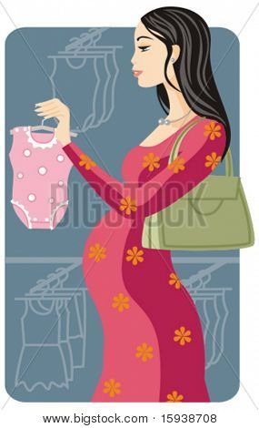 Shopping vector illustration series. Shopping pregnant girl. Check my portfolio for much more of this series as well as thousands of other great vector items.