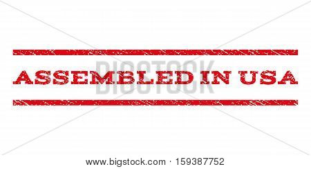 Assembled In USA watermark stamp. Text caption between horizontal parallel lines with grunge design style. Rubber seal red stamp with scratched texture. Vector ink imprint on a white background.