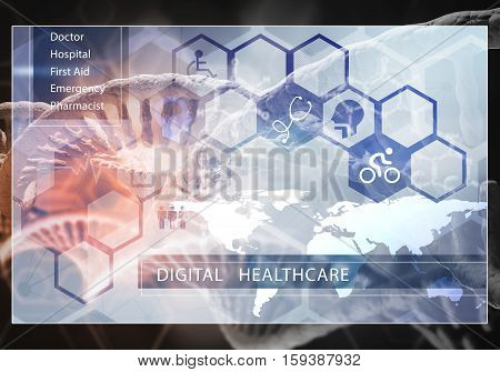 Media medicine background image as DNA research Digital Healthcare concept, 3D rendering