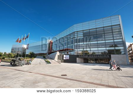 BURGOS SPAIN - OCTOBER 4: Human evolution museum on October 4 2016 in Burgos Spain. is a museum on the subject of human evolution shows some of the most important human fossil.