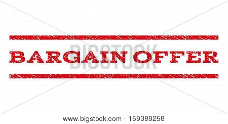 Bargain Offer watermark stamp. Text tag between horizontal parallel lines with grunge design style. Rubber seal red stamp with dirty texture. Vector ink imprint on a white background.
