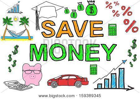 Illustrative Diagram Of Save Moneys Concept On White Background
