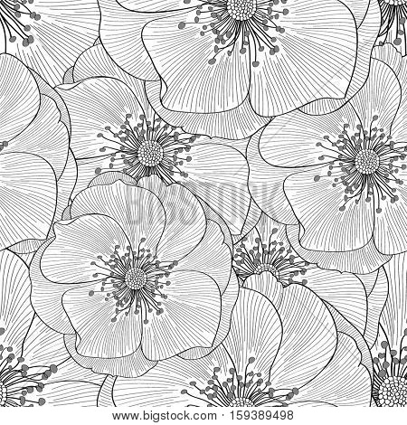 Beautiful abstract seamless hand drawn floral pattern with roses flowers. Vector illustration. Element for design.