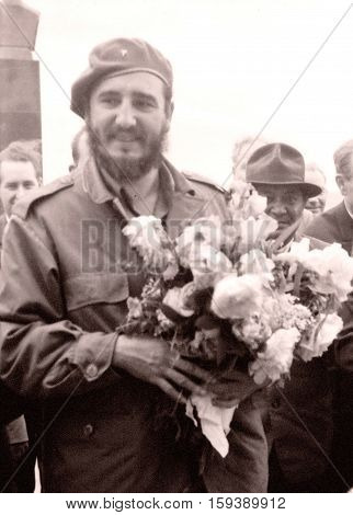 Fidel with flowers in Yangiyer Uzbekistan May 11 1963