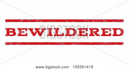 Bewildered watermark stamp. Text caption between horizontal parallel lines with grunge design style. Rubber seal red stamp with dust texture. Vector ink imprint on a white background.