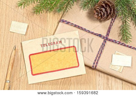 Christmas background with a vintage telegram and stamps