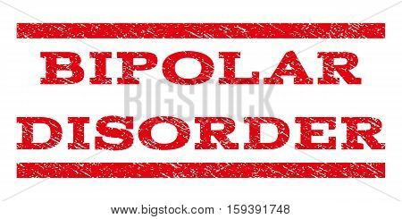Bipolar Disorder watermark stamp. Text caption between horizontal parallel lines with grunge design style. Rubber seal red stamp with scratched texture. Vector ink imprint on a white background.