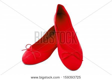 Womens Red Suede Shoes, Isolated On White