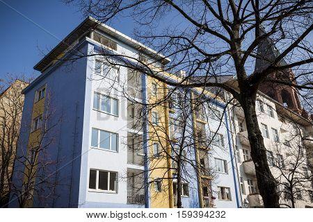 Modern Apartment House In Berlin Kreuzberg With Blue Sky
