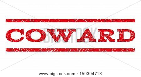 Coward watermark stamp. Text tag between horizontal parallel lines with grunge design style. Rubber seal red stamp with dirty texture. Vector ink imprint on a white background.