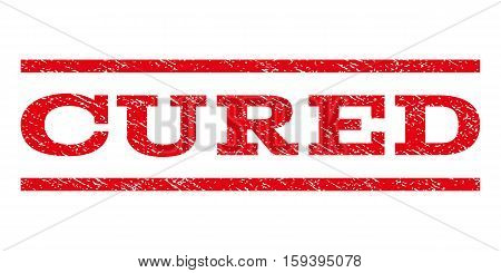Cured watermark stamp. Text caption between horizontal parallel lines with grunge design style. Rubber seal red stamp with dust texture. Vector ink imprint on a white background.