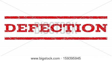 Defection watermark stamp. Text caption between horizontal parallel lines with grunge design style. Rubber seal red stamp with scratched texture. Vector ink imprint on a white background.