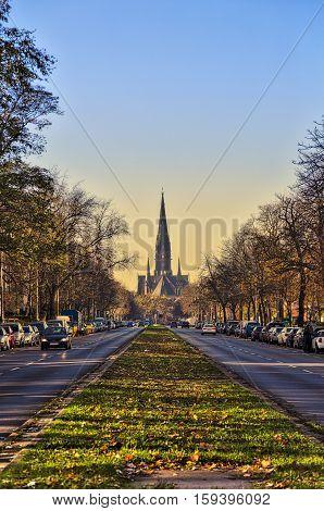 Street In Berlin Kreuzberg, Sunset And Church