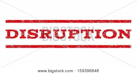 Disruption watermark stamp. Text tag between horizontal parallel lines with grunge design style. Rubber seal red stamp with dirty texture. Vector ink imprint on a white background.
