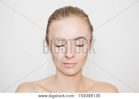 halves of old and young woman face with closed eyes
