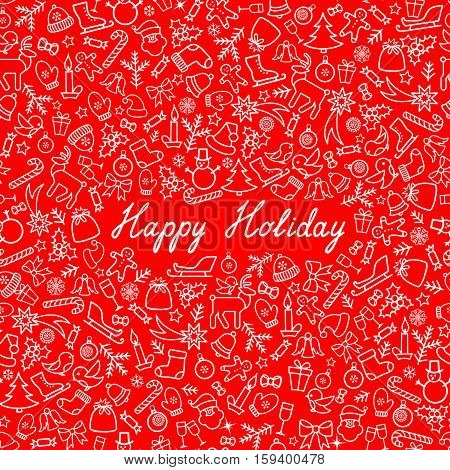 Christmas Icons Seamless Pattern. Happy Winter Holiday Greeting Card. Doodle Winer Holiday Greeting Card with handwritten Lettering HAPPY HOLIDAYS