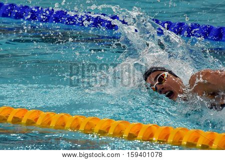Hong Kong China - Oct 29 2016. Olympian swimmer Zsuzsanna JAKABOS (HUN) swimming in Women's Freestyle 200m Final. FINA Swimming World Cup Finals Victoria Park Swimming Pool.