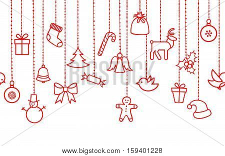 Different hanging Christmas ornaments: Christmas bauble santa hat reindeer angel gift box sock robbin bird berry Christmas tree seamless garland. Various border isolated on white