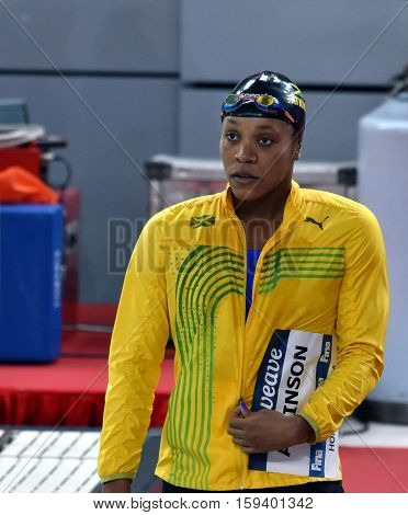 Hong Kong China - Oct 29 2016. Jamaican swimmer and olympian Alia ATKINSON (JAM) at the start in Women's Breaststroke 100m Final. FINA Swimming World Cup Finals Victoria Park Swimming Pool.
