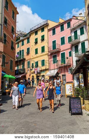 Steep Road In Riomaggiore, Cinque Terre, Italy