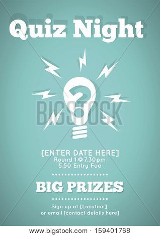 Quiz Night Poster With Flat Vector Lightbulb Illustration
