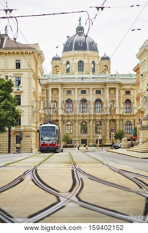 Red Electric Tram In Vienna, Austria