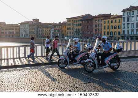 Policeman On Scooters In Pisa, Italy