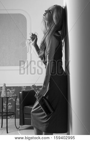 Sensual Girl Waiting For Party Black And White