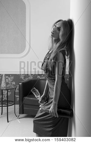 Woman Waiting For Elegant Party Bw Shot