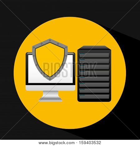 pc data base protection system arrow vector illustration eps 10