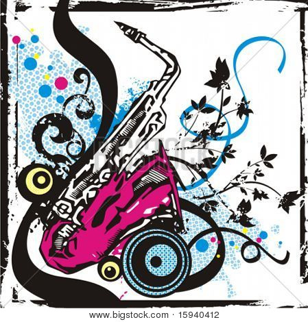 Music instrument background series, vector illustration of a saxophone with grunge details.