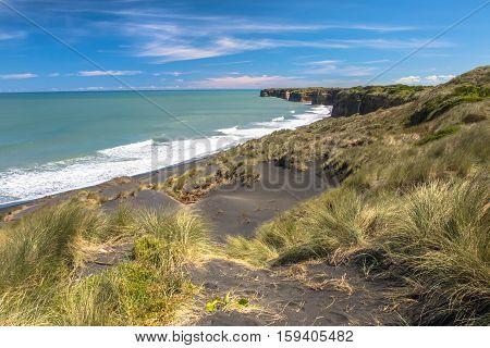 Dunes And Black Sand Beach Near New Plymouth, New Zealand
