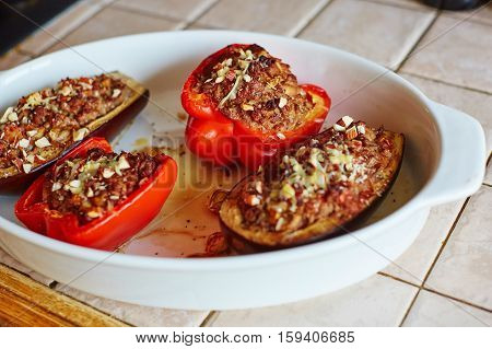 Baked Aubergines And Bell Peppers