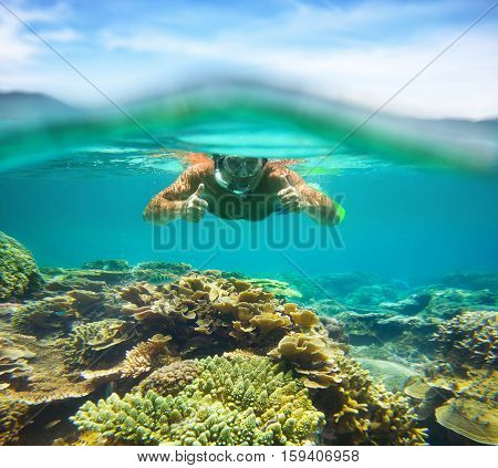 Underwater portrait of a man snorkeling coral reef in tropical sea.. Vietnam