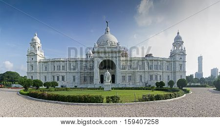 Beautiful panoramic image of Victoria Memorial Kolkata Calcutta West Bengal India . A Historical Monument of Indian Architecture. Built to commemorate Queen Victoria's 25 years reign in India.