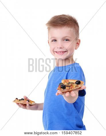 Cute boy with pizza slices, isolated on white