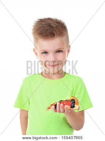 Cute boy with pizza slice, isolated on white