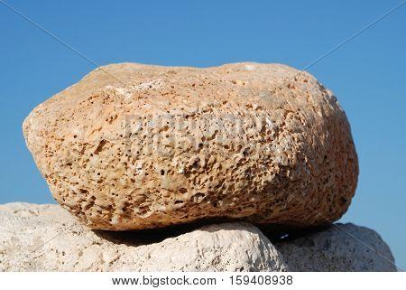 Summit of a tower of stones on Ftenagia beach at Emborio on the Greek island of Halki.