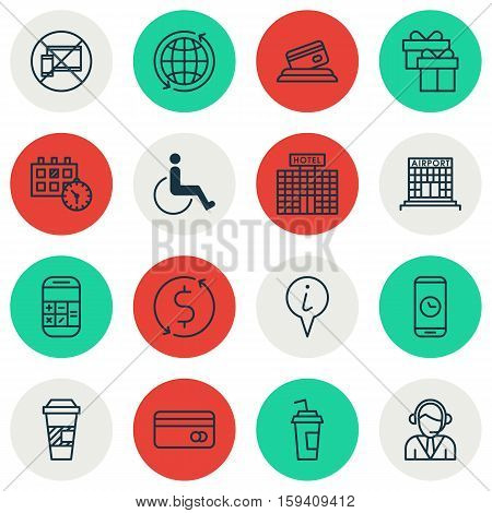 Set Of Traveling Icons On Present, Forbidden Mobile And Info Pointer Topics. Editable Vector Illustration. Includes Cup, Credit, Calculation And More Vector Icons.