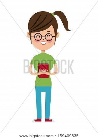 back to school girl nerd glasses green tshirt and book vector illustration eps 10