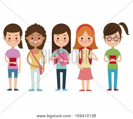 back to school girls companions students smiling vector illustration eps 10