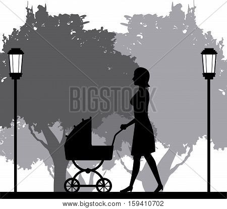 silhouette woman walking with pram baby in park vector illustration eps 10
