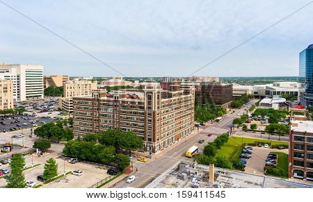 The south side of Dallas Texas. Looking south from Downtown at the remaining skyline
