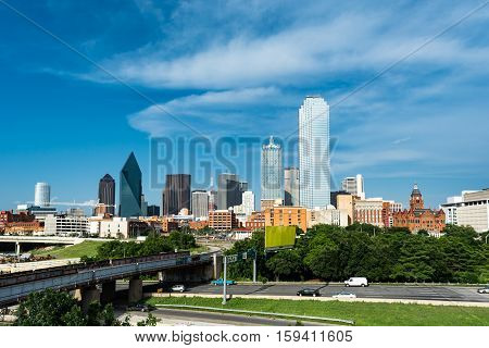 View of Downtown Dallas from the west looking east
