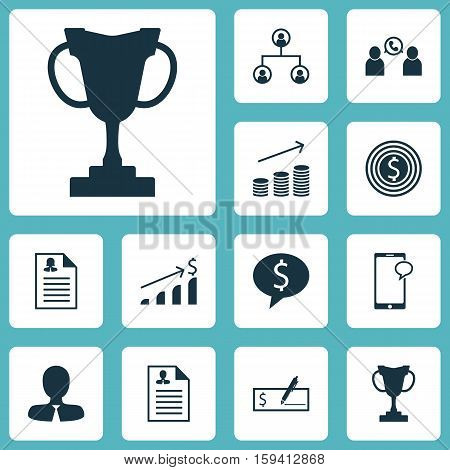 Set Of Hr Icons On Coins Growth, Tournament And Business Goal Topics. Editable Vector Illustration. Includes Application, Opinion, Resume And More Vector Icons.