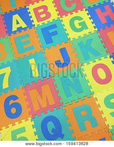 A, B, C, E, F,g And J Text Jigsaw Tiles Floor On White Background , Interlocking Eva Foam, For Crawl