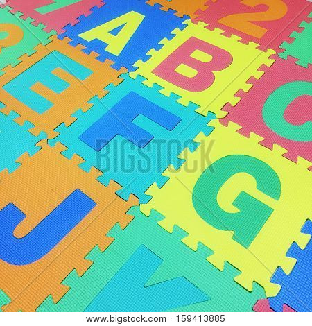 A, B, C, E, F,g And J Text Jigsaw Tile Floor On White Background , Interlocking Eva Foam
