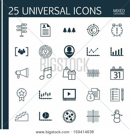 Set Of 25 Universal Editable Icons. Can Be Used For Web, Mobile And App Design. Includes Icons Such As Curriculum Vitae, Dynamics, Holiday Ornament And More.