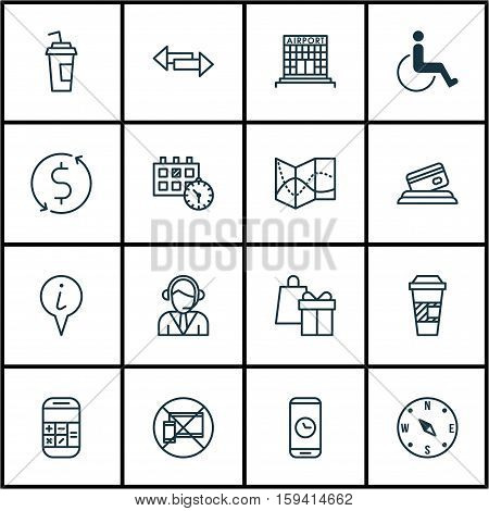 Set Of Transportation Icons On Crossroad, Takeaway Coffee And Forbidden Mobile Topics. Editable Vector Illustration. Includes Paralyzed, Operator, Calculator And More Vector Icons.